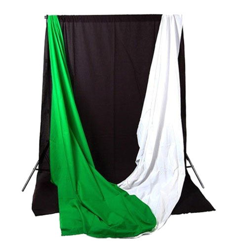 CowboyStudio-PhotographyVideo-Studio-Triple-Lighting-Kit-with-10-feet-x-12-feet-Black-White-and-Green-Muslins-Backdrops-and-Background-Support-System-with-Case-0-3